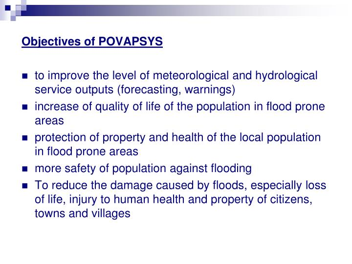 Objectives of POVAPSYS