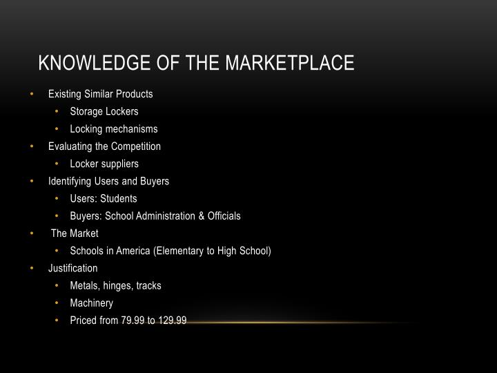 Knowledge of the Marketplace