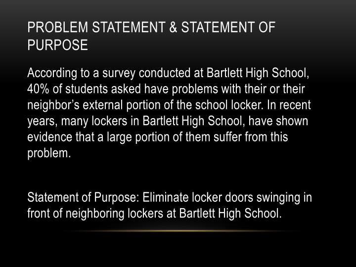 Problem statement statement of purpose