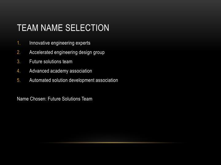 Team Name Selection