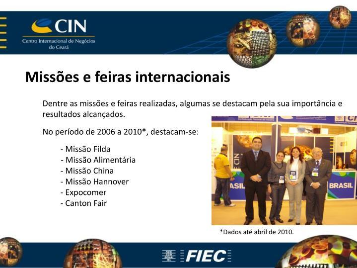 Missões e feiras internacionais