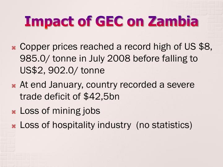 Impact of gec on zambia