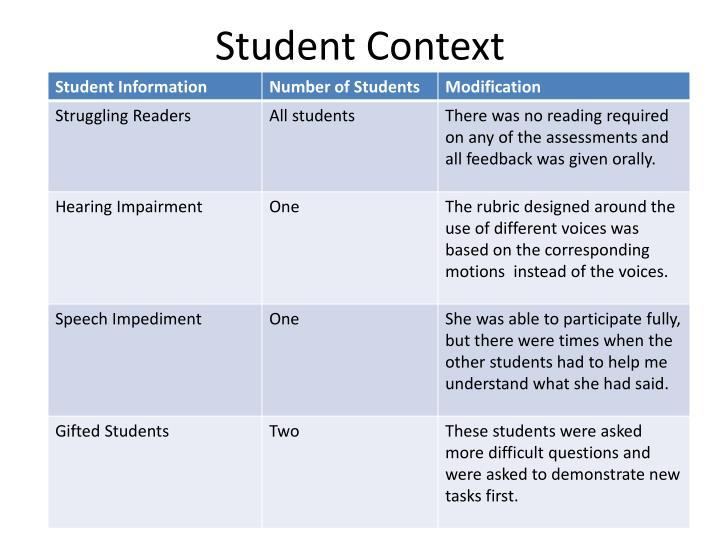 Student context