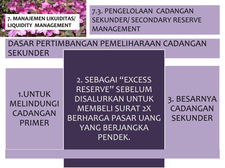 7.3. PENGELOLAAN  CADANGAN SEKUNDER/ SECONDARY RESERVE MANAGEMENT