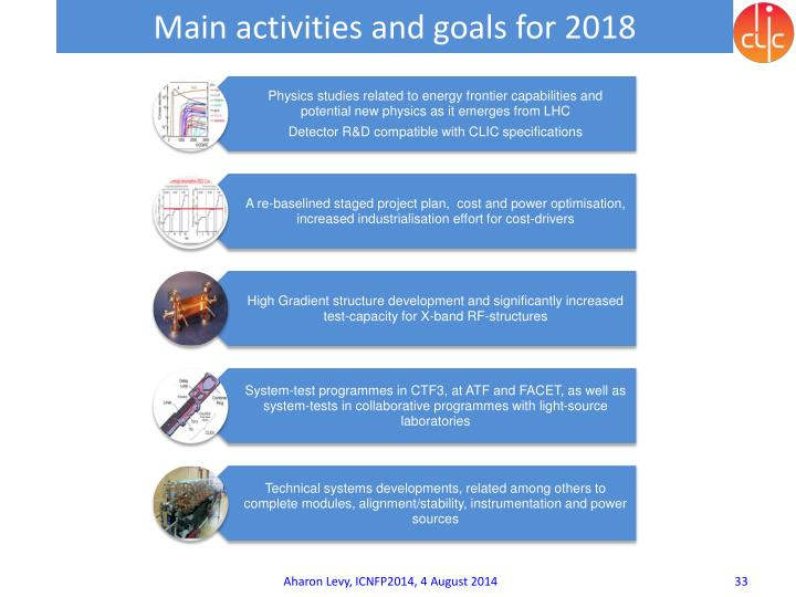 Main activities and goals for 2018