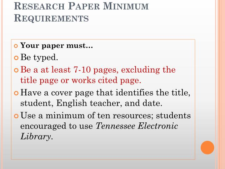 Research Paper Minimum Requirements