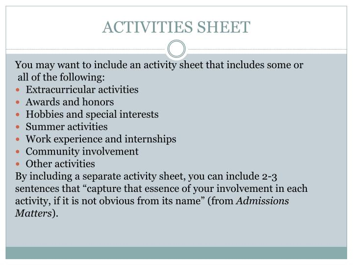 ACTIVITIES SHEET