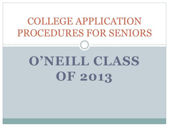 College application procedures for seniors
