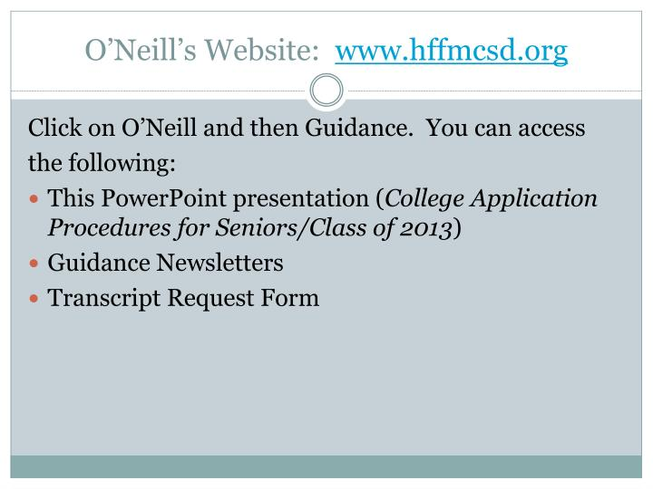 O'Neill's Website: