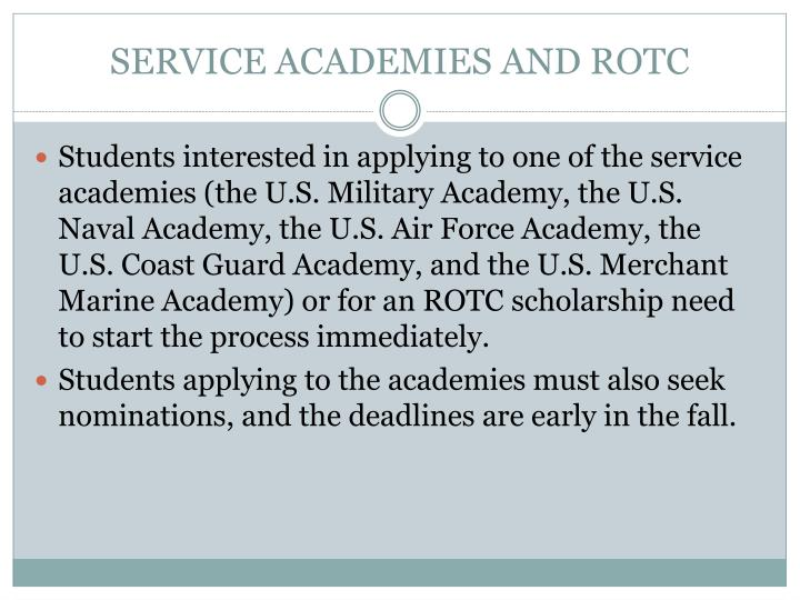SERVICE ACADEMIES AND ROTC