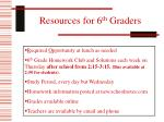 resources for 6 th graders