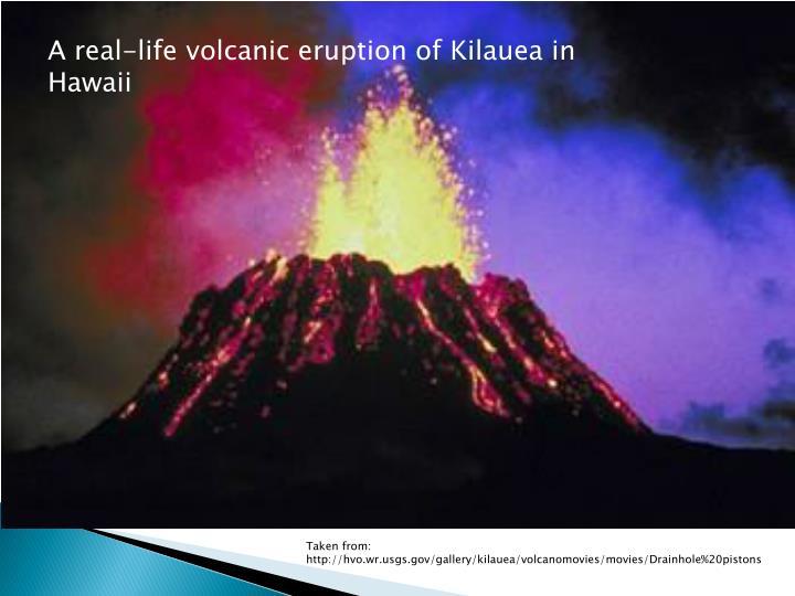 A real-life volcanic eruption of Kilauea in Hawaii