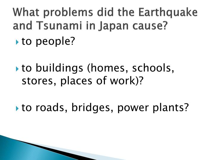 What problems did the Earthquake and Tsunami in Japan cause?
