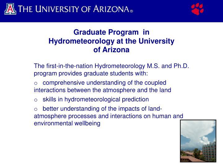 Graduate Program  in Hydrometeorology at the University of Arizona