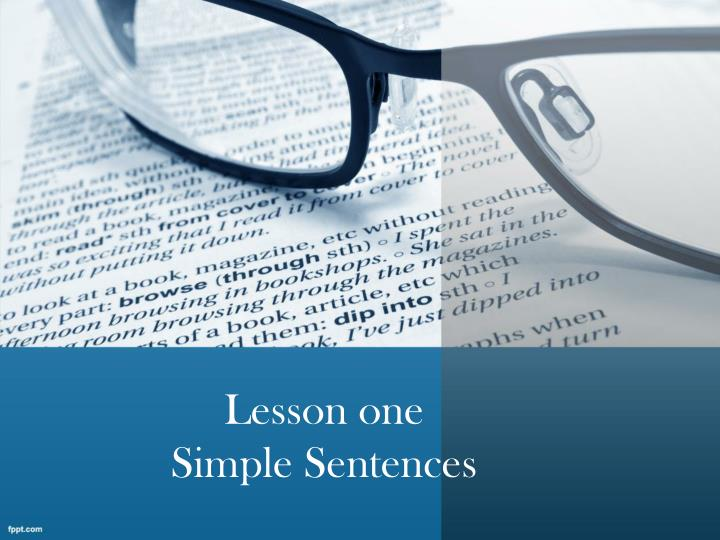 lesson one simple sentences n.