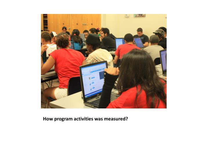 How program activities was measured