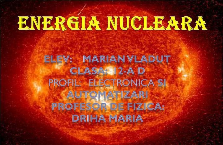 energia nucleara n.