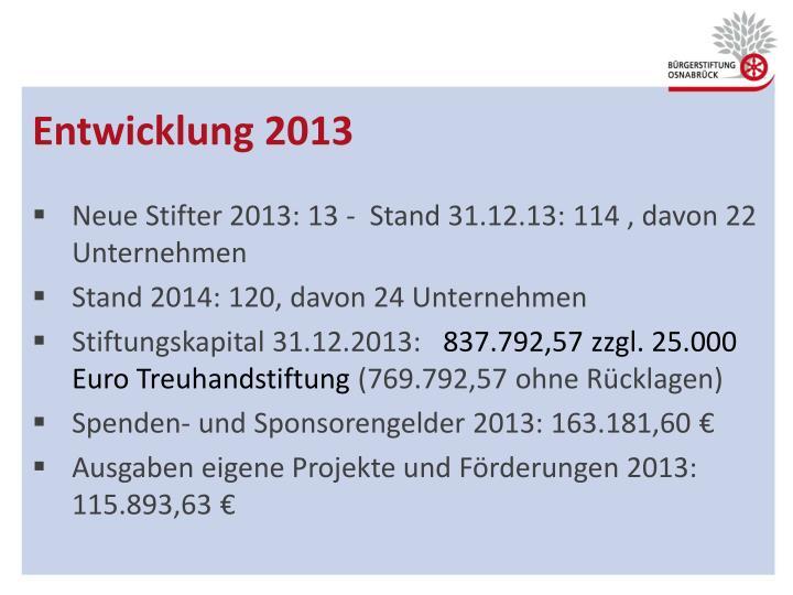 Entwicklung 2013