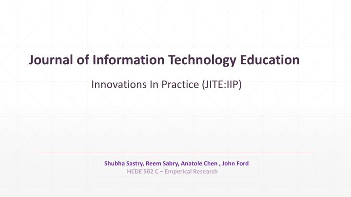 journal of information technology education