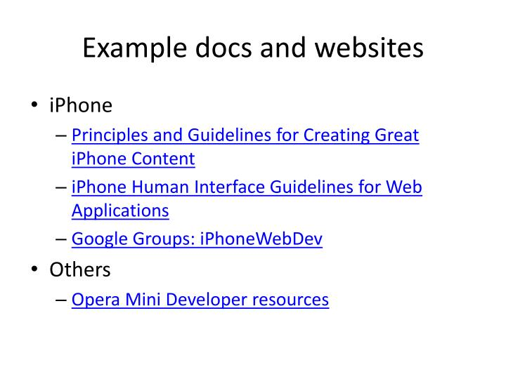 Example docs and websites
