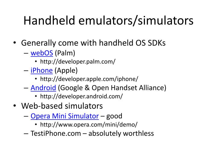 Handheld emulators/simulators