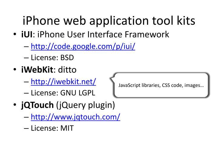 iPhone web application tool kits