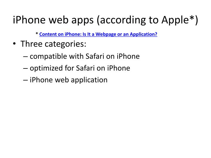 iPhone web apps (according to Apple*)
