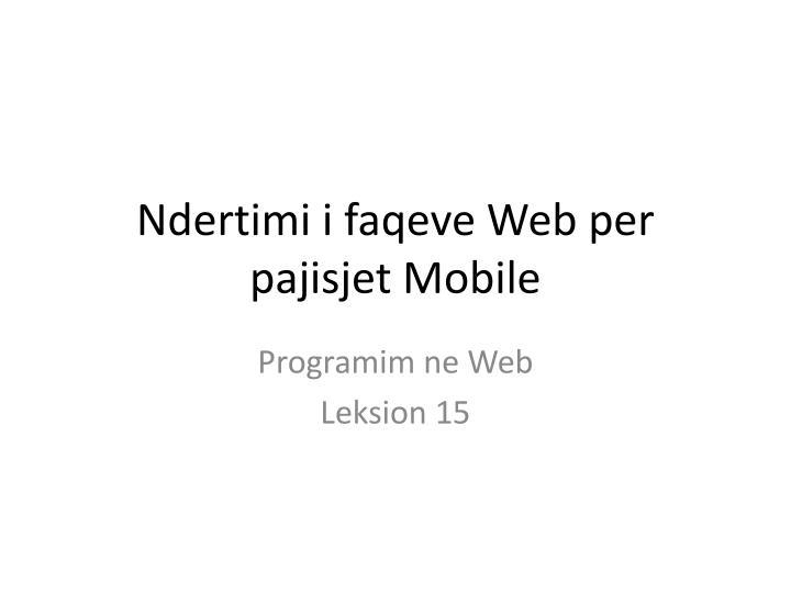 Ndertimi i faqeve web per pajisjet mobile