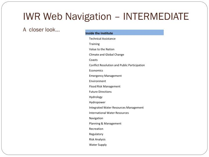IWR Web Navigation – INTERMEDIATE