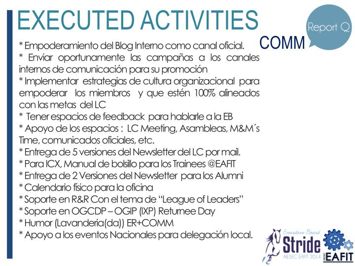 EXECUTED ACTIVITIES