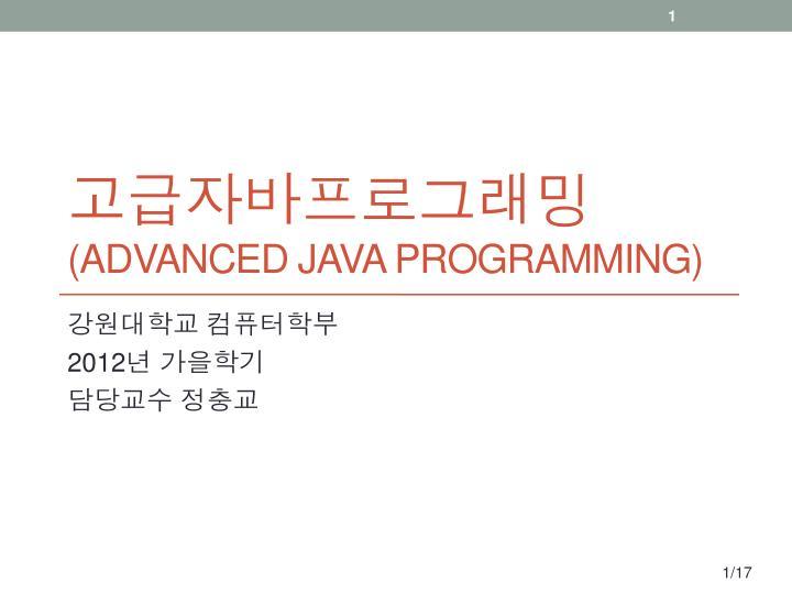 advanced java programming n.