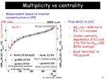 multiplicity vs centrality