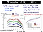 observables at high rapidity