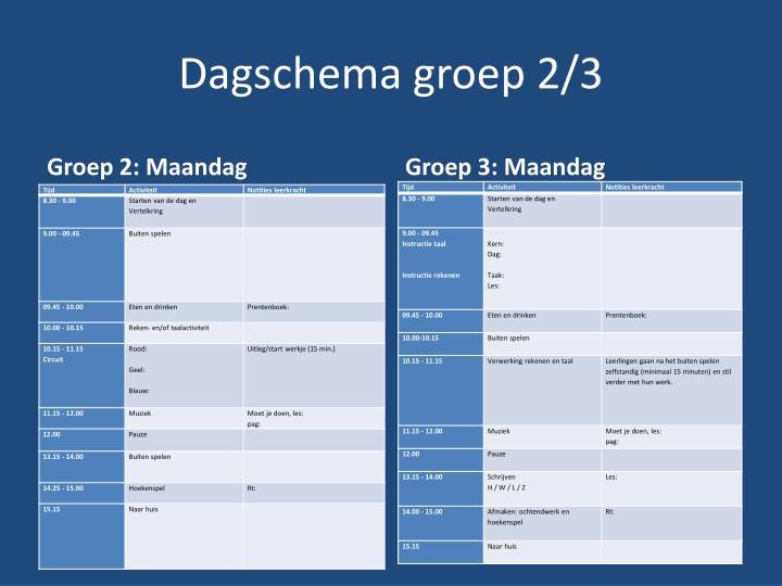 Dagschema groep 2 3