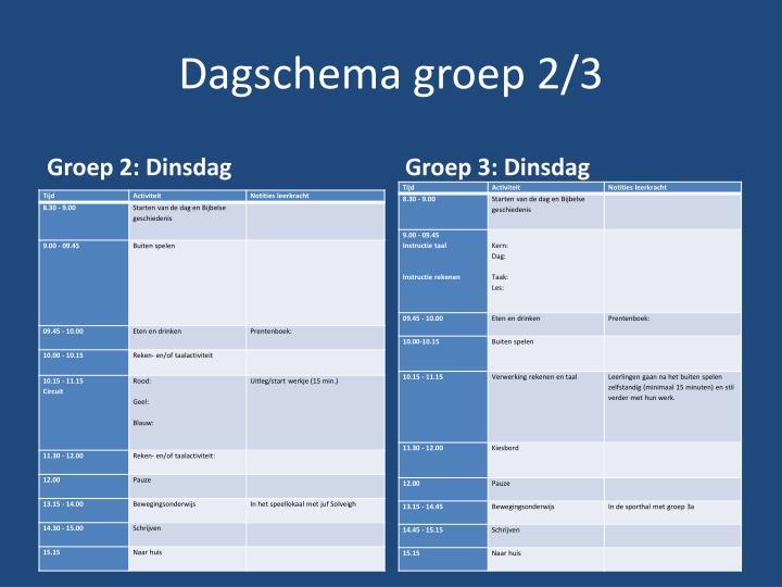 Dagschema groep 2 31