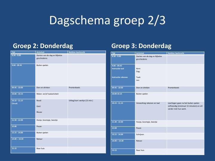 Dagschema groep 2/3