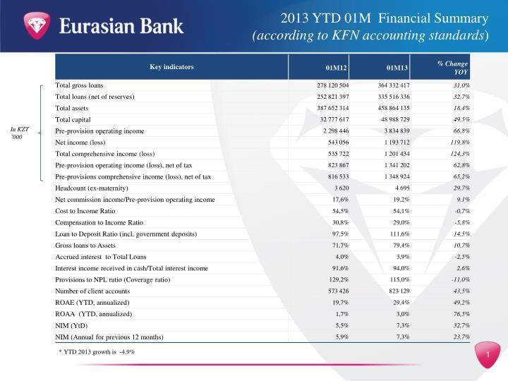 2013 YTD 01M  Financial Summary