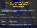 ruang lingkup sasaran dan tujuan audit manajemen