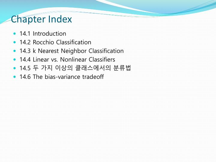 Chapter index