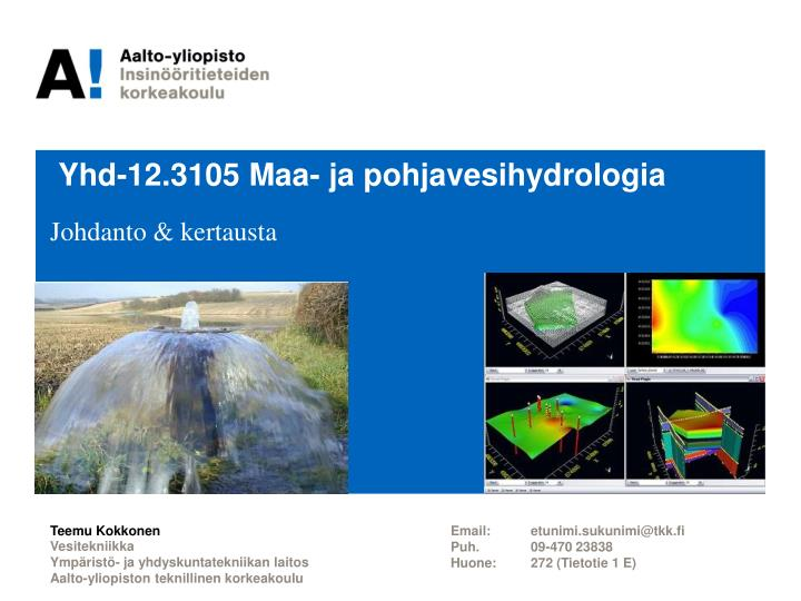 Yhd 12 3105 maa ja pohjavesihydrologia