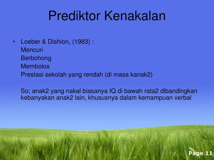 Prediktor Kenakalan
