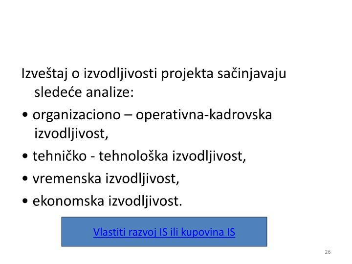 Izveštaj o izvodljivosti projekta sačinjavaju sledeće analize: