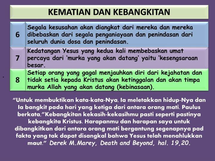 KEMATIAN DAN KEBANGKITAN