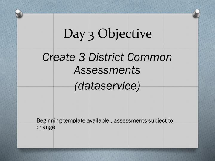 Day 3 Objective