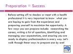 preparation success