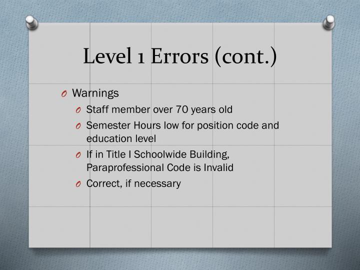 Level 1 Errors (cont.)