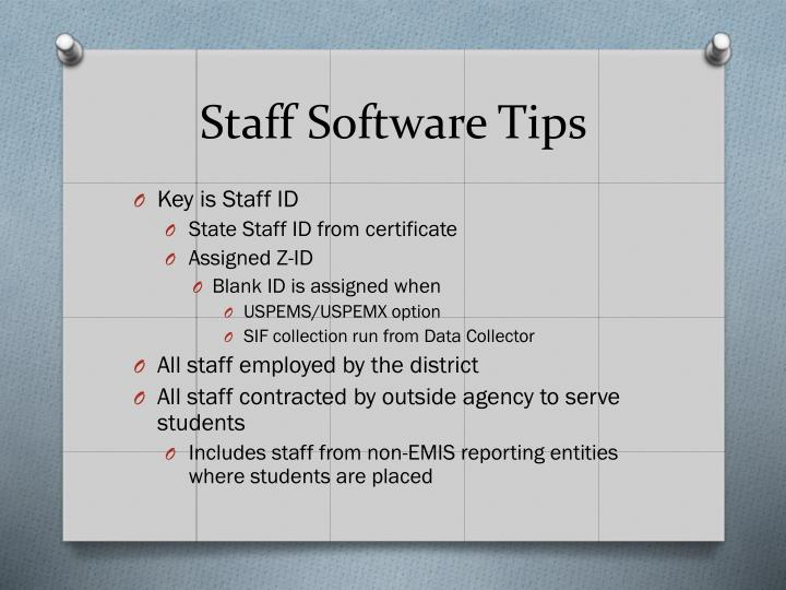 Staff Software Tips