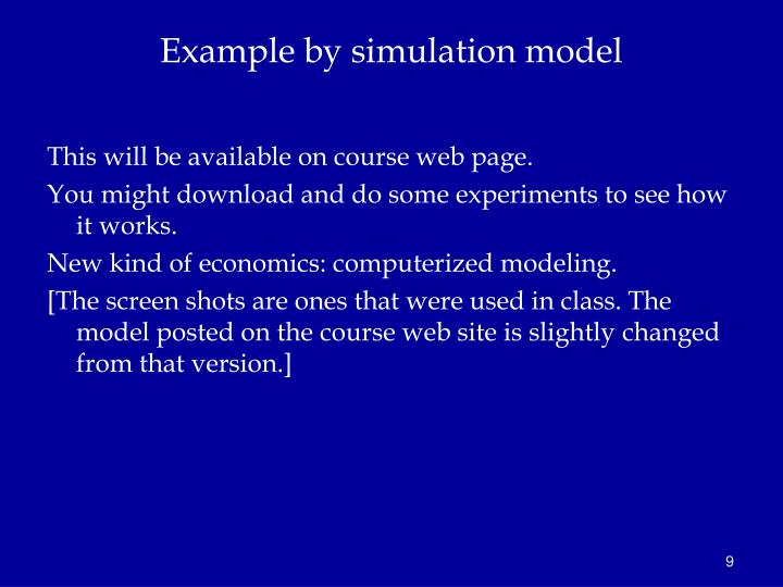 Example by simulation model