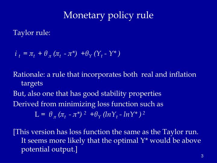 Monetary policy rule