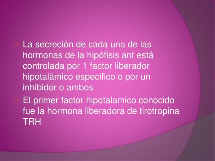 La secreción de cada una de las hormonas de la hipófisis